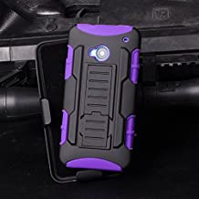 HTC One M7 Funda, Cocomii Robot Armor NEW [Heavy Duty] Premium Belt Clip Holster Kickstand Shockproof Hard Bumper Shell [Military Defender] Full Body Dual Layer Rugged Cover Case Carcasa 801s (Purple)