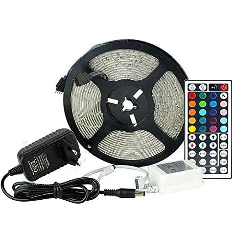 RGB LED Strip Licht Streifen 5m Band Leiste mit 300 LEDs SMD 3528, Wasserdicht