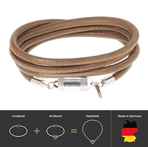 CLICCESSORY Echt-Leder Wickel-Armband, sicherer Magnetverschluss, Handgemacht, Unisex, Braun. 75 cm (entspricht 20 cm) (Schicke Frisch Kleid)
