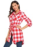 UNibelle Damen Karierte Bluse Langarm Oversize Hemd Button Longshirt Cardigan Top Rot-Weiß S