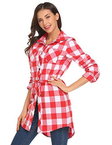 UNibelle Damen Karierte Bluse Langarm Oversize Hemd Button Longshirt Cardigan Top Rot-Weiß L