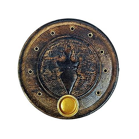 Tizil artisanale Brûle-encens Magnifique sculpté à la main en bois de bâtons d'encens Cercle support, support de cône avec travail de conception