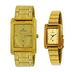 Maxima Square Golden Dial Day N Date Watch For Couple