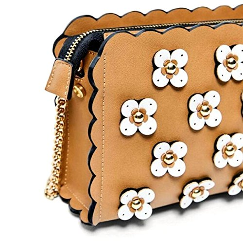 Borsa A Tracolla A Tracolla Ladies Messenger Bag Tre Piccoli Fiori Rivetti Borse A Catena Brown