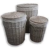 Homescapes Wäschekorb Set 3tlg Weide Wäschesammler Rund mit Deckel Wäschetruhe Wäschetonne Grau