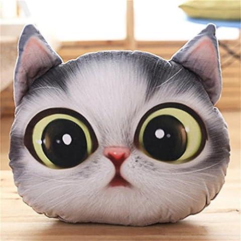 Coussin, Kolylong Mignon Coussins en Forme de 3D chat Oreiller de Chaise Décoratifs Oreillers Jouet En Pillow Cushions (37 * 30cm, A)