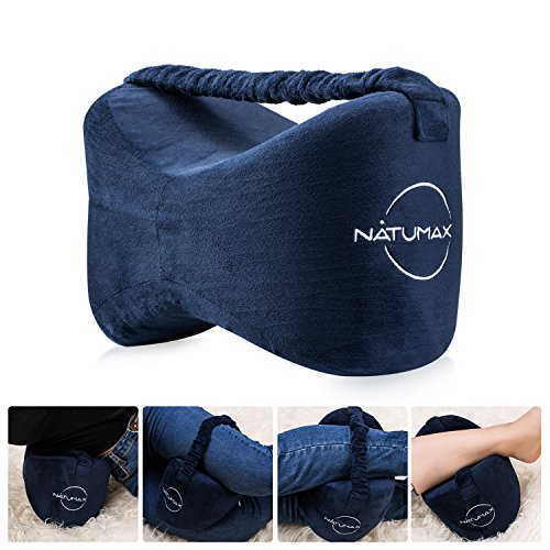 NATUMAX Knee Leg Pillow, Pressure Pain Relief for Side Sleepers, Back Injuries, Hip Pain - Slow Rebound Memory Foam Cotton Orthopedic Leg Pillow with Antibacterial Removable, Blue
