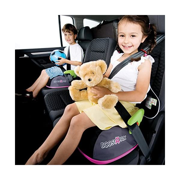 Trunki BoostApak - Travel Backpack & Child Car Booster Seat for Group 2-3 (Pink)  QUICKLY TRANSFORMS - Kid's bag to portable booster cushion in seconds (featuring internal hard shell and fold out seatbelt guides) AVOID HIRE CHARGES - On fly drive holidays! Can also be used as dining, cinema or stadium booster to see the action HAND LUGGAGE - 8-litre capacity for packing toys/games/stationary keeping children entertained on the go 2