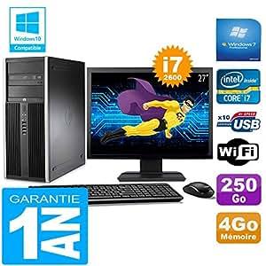 """HP PC Tower compaq 8200 Core I7-2600 RAM 4GB Scheibe 250 Gb Wifi W7 Bildschirm 27"""""""