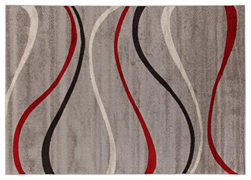 Viva Casa Waves Tappeto, Materiale Sintetico, Grigio, 160x230x3.68 cm
