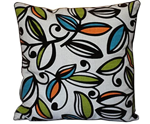 Lovely Geometric Suede Leaves Print on Beige Jute Finish 16 x 16 Cushion Cover for Sofa Bed (Orange, vert, feuilles bleues sur beige)