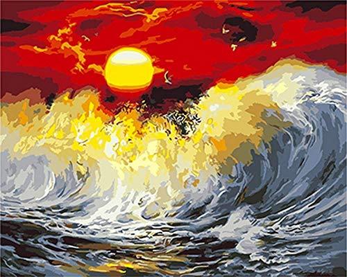 Painting-YC Malen sie Nach Zahlen für Erwachsene Kinder Sonnenuntergang und Wellen 16×20 Zoll DIY Malen Nach Zahlen Kits Junior Kinder Dekorationen Geschenke