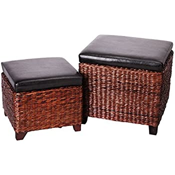 Eshow Foot Stools Storage Ottoman Bench 2 Piece Leather Cube Storage Stool  Rattan Bulrush Upholstery