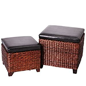 eshow leder ottoman rattan sitzhocker aufbewahrungsbox sitzhocker sitzw rfel fu bank. Black Bedroom Furniture Sets. Home Design Ideas