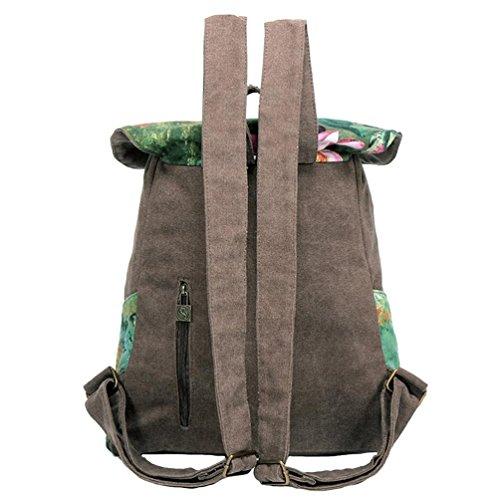 Chang Spent Collegio Vento viaggio tracolla zaino di tela del sacchetto di stampa delle donne , brown Brown