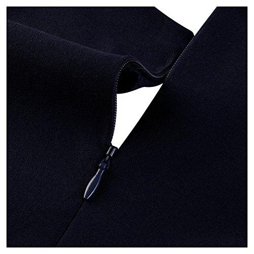 Miusol Damen Elegant Fluegelarme V-Ausschnitt Knoepfe Cocktailkleid Party Kleid Blau Groesse M -