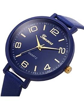 Vovotrade Damen Frau feste Kunstleder casual Uhren Quartz(dunkelblau)