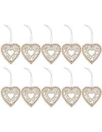 10pcs Etiqueta de Madera Colgante Corazón Flor Recorte con Cuerda Decoración para Hogar