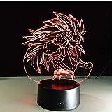 DDBBhome Figuras Dragon Ball Z Super Saiyan 3 Goku Lámpara De Mesa 3D 7 Cambio De Color Figuras Luz Nocturna Vegeta Arti Culados Regalo para Niños