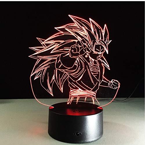 DDBBhome Figuren Dragon Ball Z Super Saiyan 3 Goku 3D Tischlampe 7 Farbwechsel Figuren Nachtlicht Vegeta Arti Culados Kid Geschenk