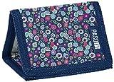 Kinder Geldbörse Klettverschluss Portemonnaie Geldbeutel Mädchen Börse Blau Blumen