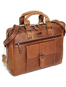 Solo Pelle Messenger Tasche / Umhängetasche aus echtem Leder Model: Amsterdam (geeignet für 15,6 Zoll Laptop`s)