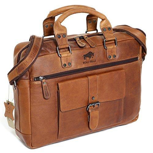 Solo Pelle Messenger Tasche / Umhängetasche aus echtem Leder Model: Amsterdam (Vintage Braun) Vintage Braun