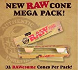 RAW Classic Mega Pack 32 cones King Size pre rolled ready to fill natural rolling paper - New product from RAW