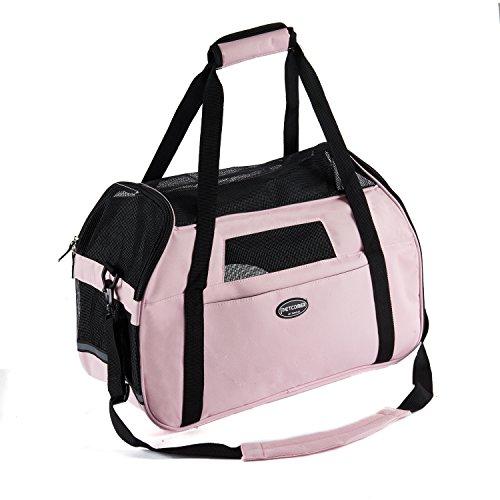 Transporttasche für Haustiere Für Hunde & Katzen Komfort Airline Genehmigte ReiseTote Weich-seitig Tasche Mit Matte, Pink