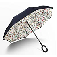 Love Life Paraguas del Hogar, Doble Invertida Paraguas Invertido Paraguas Protección UV Grande Paraguas Recto