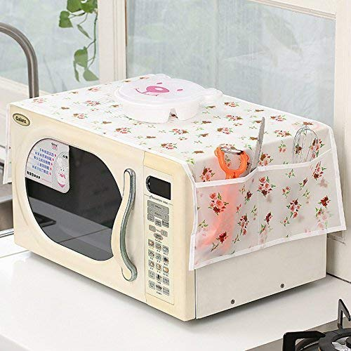 SHOP ONLINE 1Pc Microwave Oven Cover with 2 Pouch Dustproof Cloth Cover (Assorted Colour and Design)