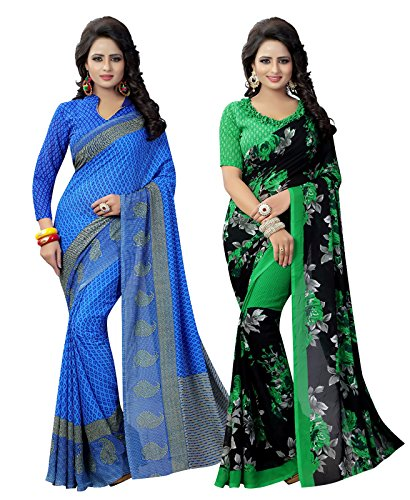 Ishin Women's Faux Georgette Saree With Blouse Piece (Combo-4026_Multicolor)