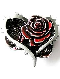 Buckle als Herz mit Rosen - Emo, Gothic, Gürtelschnalle