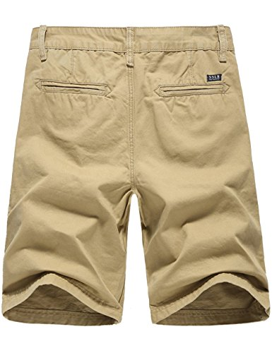 SSLR Herren Casual Regular Fit Baumwolle Shorts Khaki