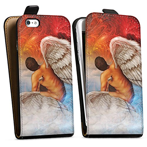 Apple iPhone X Silikon Hülle Case Schutzhülle Engel Kunst Blau Rot Downflip Tasche schwarz
