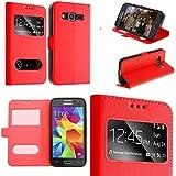 Coque Samsung Galaxy A3 2016 rouge housse étui flip cover double fenetre, ultra fine plusieurs couleurs- couleur étui rouge