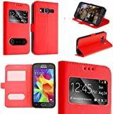 coque samsung galaxy grand prime rouge housse étui flip cover double...