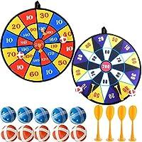 Queta Tableros de Dardos para los Niños, 1 Set con 2 Dardos 10 Bolas y 4 Flechas Stickball para Juegos de Dardos Interior o Exterior, Diámetro 36 cm