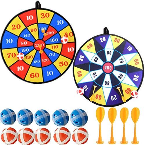 Towinle Dartscheibe Kinder Wurfspiel mit 2 Klett Dartscheibe,10 Bällen und 4 Pfeile Klettballspiel Set für Groß und Klein Dartscheibe Spiel für Drinnen und Draußen, Durchmesser 36cm