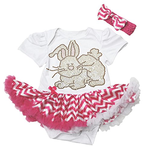 Easter Rhinestone Bunny White Bodysuit Hot Pink Chevron Baby Pettiskirt Nb-12m (6-12 Monat)