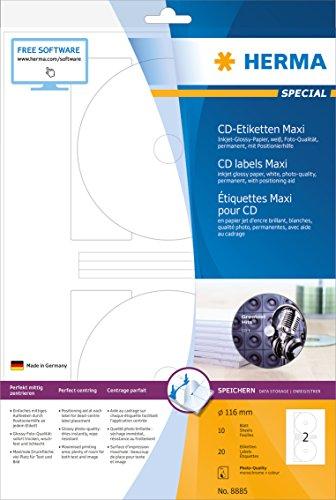 Herma 8885 Inkjet-CD-Etiketten Maxi, glossy (Ø 116 mm, Innenloch klein, auf DIN A4 Papier in Foto-Qualität, glänzend) 20 Stück auf 10 Blatt, weiß, mit Zentrierhilfe, Tintenstrahldrucker-bedruckbar, selbstklebend