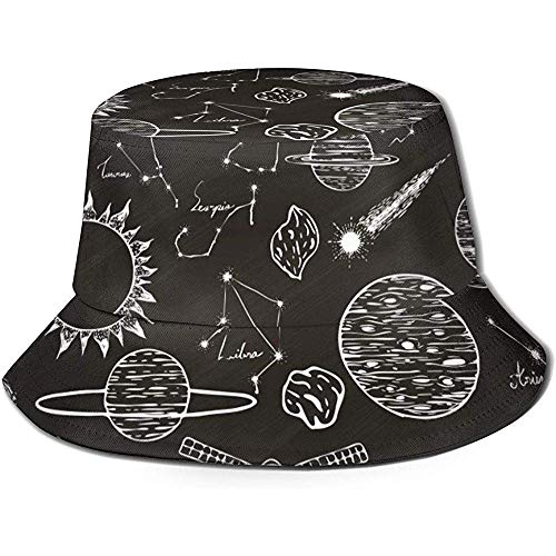 Space Elements Unisex Fashion Bucket Hats Gorra de Pescador de Doble Uso con Tapa Plana Sombrero para el Sol Negro