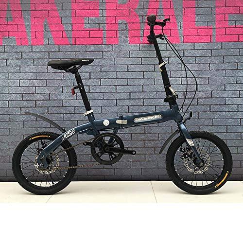 Grimk 16 Zoll Klapprad Faltrad Aluminium Damen Leicht Falträder Klappräder Männer Faltbar Fahrrad Erwachsene Mit Kinder Citybike Herren Klappfahrrad Urban Bike,Blue