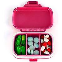 Preisvergleich für Medikamentenbox,Lifesport Reise Pillendosen Pillenbox Tablettenbox mit 3 Fächer Tragbar Praktisch Mini Multifunktions...