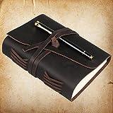 WOOWA couverture en cuir bloc note journal intime agenda calepin journal en cuir carnet de voyage, cadeau pour homme & femme, parfait pour l'écriture poésie bible, 17.8 cm × 12.7 cm,marron