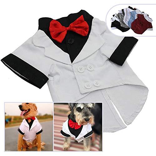 (longlongpet Pet Bekleidung Hund Katze Kleidung Anzug Smoking mit Schleife Hochzeit Anzüge Party Kostüme für Kleine Mitte Große Hunde)