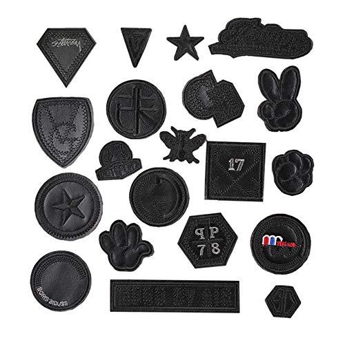 Juland 20 Stck Schwarze PU-Patches Selbstklebender Rucksack Deko-Patches für Männer, Frauen, Jungen, Mädchen, Kinder