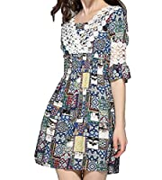 Tootlessly Women's Slim Fit Print Accept Waist Lace Beach Mini Dress AS1 One Size
