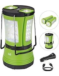 LE Lanterne de Camping LED Rechargeable par port USB,600lm, avec 2 mini lampes de poche détachables, étanche et imperméable, câble USB + chargeur de voiture inclus, lampe portable et flexible idéale pour les activités extérieures, randonnée, jardin, camping, chasse, pêche