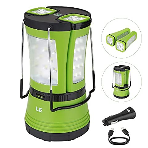 LE 600lm LED Camping Lantern with 2 Multi Functional Handy Flashlight Torch, Outdoor USB Rechargeable Tent Light, Car Charger Included, for Hiking Emergency